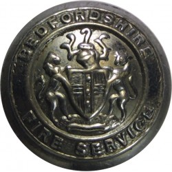 Bedfordshire Fire Service - Coat Of Arms Centre 16.5mm - 1974-1997  Chrome-plated Fire Service uniform button