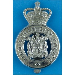 Birmingham City Police - Coat Of Arms Centre Cap Badge - Pre-1974 with Queen Elizabeth's Crown. Chrome-plated Police or Prisons