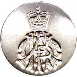 11th Hussars (Prince Albert's Own) (Indented Design) 23.5mm - 1952-1969 with Queen Elizabeth's Crown. Anodised Staybrite militar