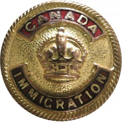 Canada Immigration - Red Enamel 26mm with King's Crown. Gilt and enamel Civilian uniform button