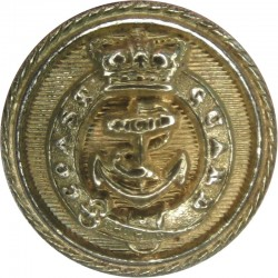 Coast Guard Officers - Roped Rim 18mm - Pre-1901 with Queen Victoria's Crown. Gilt Civilian uniform button