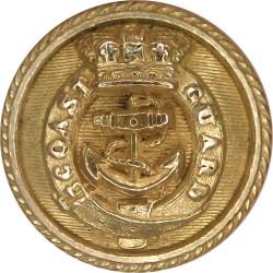 Coast Guard Officers - Roped Rim 22.5mm - Pre-1901 with Queen Victoria's Crown. Gilt Civilian uniform button