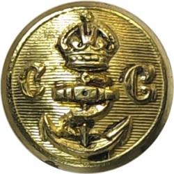 Coast Guard - With Anchor - Plain Rim 14.5mm with King's Crown. Gilt Civilian uniform button