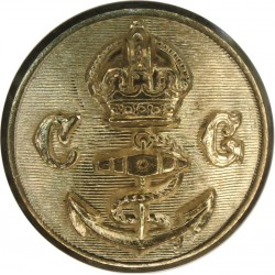 Coast Guard - With Anchor - Plain Rim 23mm with King's Crown. Gilt Civilian uniform button