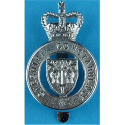 Cheshire Constabulary - Shield Centre Cap Badge with Queen Elizabeth's Crown. Chrome-plated Police or Prisons hat badge