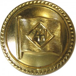 Alfred Holt Blue Funnel Line - Shipping Button 25mm - Roped Rim  Gilt Merchant Navy or Shipping uniform button