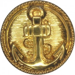 Anchor On Lined Background With Roped Rim 23mm - Gold Colour  Plastic Merchant Navy or Shipping uniform button