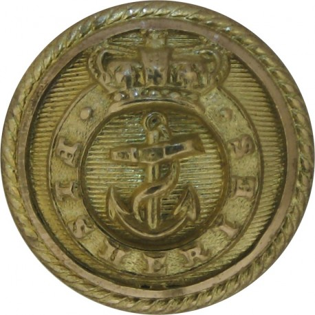 Fisheries - Shipping Button - Roped Rim 18.5mm with Queen Victoria's Crown. Gilt Merchant Navy or Shipping uniform button