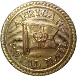 African Royal Mail - Shipping Button - Roped Rim 25.5mm with Queen Victoria's Crown. Gilt Merchant Navy or Shipping uniform butt