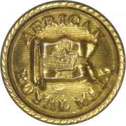 African Royal Mail - Shipping Button - Roped Rim 23.5mm with Queen Victoria's Crown. Gilt Merchant Navy or Shipping uniform butt