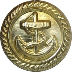 Anchor On Lined Background With Roped Rim 16mm - Gold Colour  Anodised Merchant Navy or Shipping uniform button