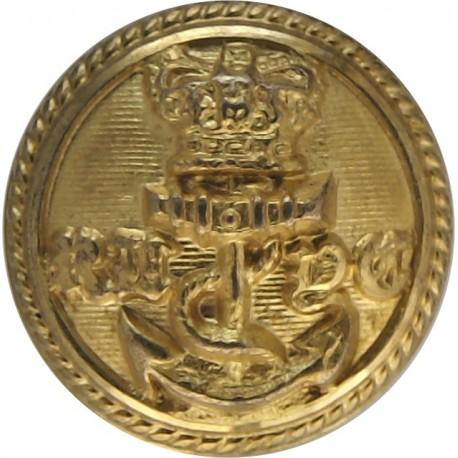 Royal London Yacht Club - Lined - Roped Rim 15mm with Queen Victoria's Crown. Gilt Yacht or Boat Club jacket button