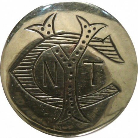 New Thames Yacht Club - NTYC Cipher 20mm - Engraved  Brass Yacht or Boat Club jacket button