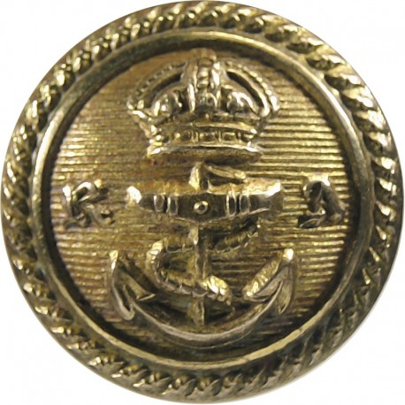 Royal Albert Yacht Club 17mm - Post-1901 with King's Crown. Gilt Yacht or Boat Club jacket button