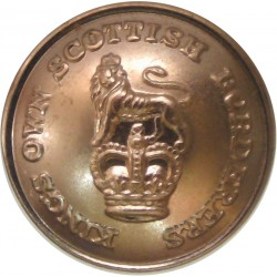 King's Own Scottish Borderers 19mm - Gold Colour with Queen Elizabeth's Crown. Anodised Staybrite military uniform button