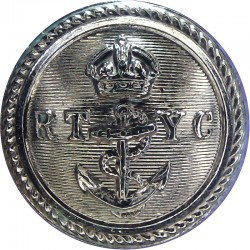 Royal Thames Yacht Club - Lined - Roped Rim 23.5mm - Black with King's Crown. Horn Yacht or Boat Club jacket button