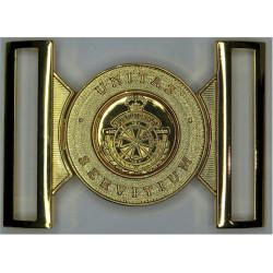 Royal Bermuda Regiment - Large Locket Type Buckle with Queen Elizabeth's Crown. Gilt Stable Belt, belt-plate or buckle