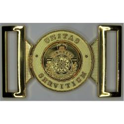 Royal Bermuda Regiment - Small Locket Type Buckle with Queen Elizabeth's Crown. Gilt Stable Belt, belt-plate or buckle