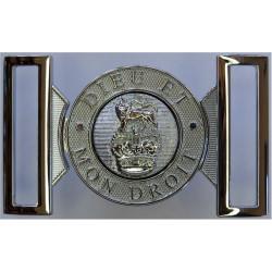 General Pattern Locket Type Belt Buckle Dieu Et Mon Droit with Queen Elizabeth's Crown. Chrome-plated Stable Belt, belt-plate or