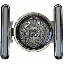 Royal Engineers Belt Plate Locket Type Buckle with Queen Elizabeth's Crown. Chrome-plated Stable Belt, belt-plate or buckle