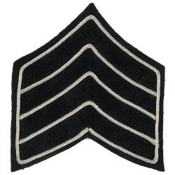 Bugle Major Rank Chevrons 4 Stripes - The Rifles Black/Silver - Green  Bullion wire-embroidered Musician, piper, drummer or bugl