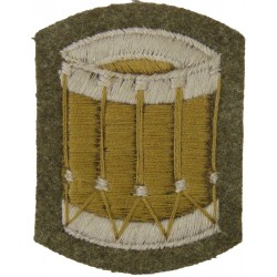 Drum (Drummer - Guards) Large Khaki  Embroidered Musician, piper, drummer or bugler insignia