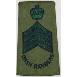 Drum Major - Royal Irish Rangers - Colour Sergeant Black/Green On Olive with Queen Elizabeth's Crown. Embroidered Musician, pipe