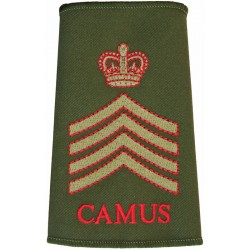 Drum Major Corps Of Army Music - CAMUS - 4 Chevrons Red/Green On Olive with Queen Elizabeth's Crown. Embroidered Musician, piper