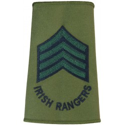 Drum Major - Royal Irish Rangers - Sergeant Black/Green On Olive  Embroidered Musician, piper, drummer or bugler insignia