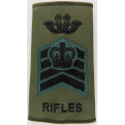 Bugle Major - The Rifles - Colour Serjeant Black/Green On Olive with Queen Elizabeth's Crown. Embroidered Musician, piper, drumm