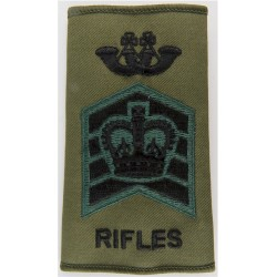 Bugle Major - The Rifles - Warrant Officer Class 2 Black/Green On Olive with Queen Elizabeth's Crown. Embroidered Musician, pipe
