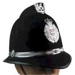 Helmet: West Mercia Constabulary (Coxcomb) With Helmet Badge with Queen Elizabeth's Crown. Chrome and enamelled Hat, cap or helm
