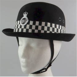 Female Police Officers Bowler - West Midlands Police With Diced Hat-Band with Queen Elizabeth's Crown.  Hat, cap or helmet