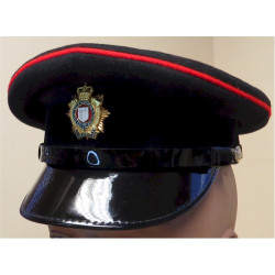 Officer's No. 1 Dress Cap - Royal Logistic Corps With Enamelled Badge with Queen Elizabeth's Crown. Silver-plated, gilt and enam