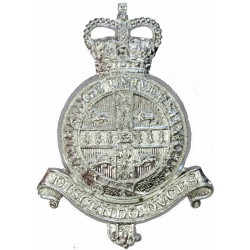 Cambridge University Officers Training Corps  with Queen Elizabeth's Crown. Anodised Staybrite army cap badge