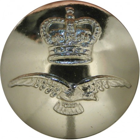 Royal Air Force - Modern Domed Pattern 23mm - Gold Colour with Queen Elizabeth's Crown. Anodised Staybrite military uniform butt