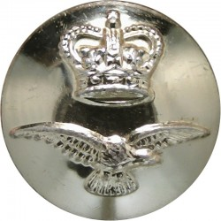 Royal Air Force - Modern Domed Pattern 17mm - Gold Colour with Queen Elizabeth's Crown. Anodised Staybrite military uniform butt