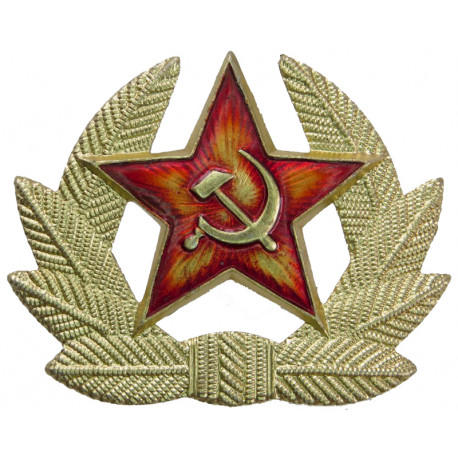 Soviet Union Army Star In Wreath  Anodised and enamel Staybrite army cap badge