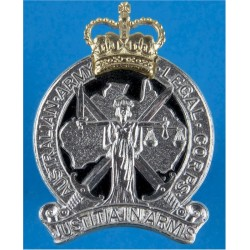 Australian Army Legal Corps Spike Fitting with Queen Elizabeth's Crown. Anodised Staybrite army cap badge