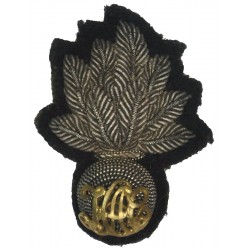 Honourable Artillery Company - Gilt HAC Lettering On Silver Grenade  Bullion wire-embroidered Officers' cap badge