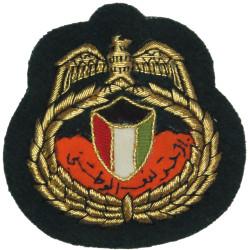 Kuwaiti National Guard Officer Cap Badge Old Type - On Black  Mylar Officers' cap badge