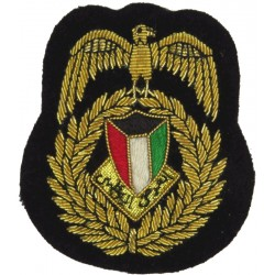 Kuwaiti National Guard Officer Cap Badge New Type - On Black  Bullion wire-embroidered Officers' cap badge