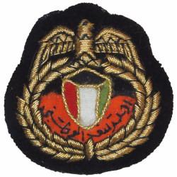 Kuwaiti National Guard Officer Beret Badge Old Type - On Black  Mylar Officers' cap badge