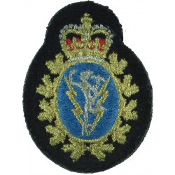 Canadian Armed Forces Communications & Electronics Branch with Queen Elizabeth's Crown. Lurex Officers' cap badge