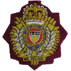 Royal Logistic Corps (Airborne Units) On Airborne Maroon with Queen Elizabeth's Crown. Bullion wire-embroidered Officers' cap ba