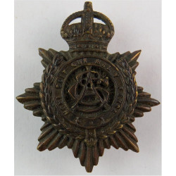 Army Service Corps - Narrow Letters 1902-1911 Pattern with King's Crown. Bronze Officers' metal cap badge