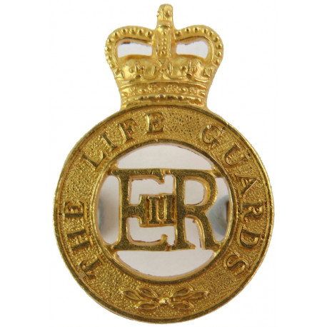 Life Guards - EiiR For Service Dress with Queen Elizabeth's Crown. Gilt Officers' metal cap badge