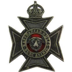 Kaffrarian Rifles - South Africa (Captured @ Tobruk) 1913-1952 - Black with King's Crown. White Metal Officers' metal cap badge