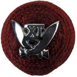 11th Gorkha Rifles - Indian Army On Maroon Boss  Chrome-plated Officers' metal cap badge