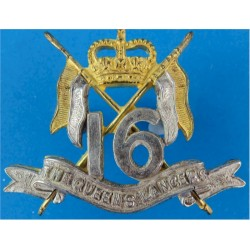 16th/5th The Queen's Royal Lancers Small Type with Queen Elizabeth's Crown. Silver-plate and gilt Officers' metal cap badge